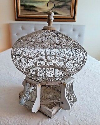 Antique VICTORIAN Wire & Wood BIRD CAGE Hot Air Balloon Shaped Dome