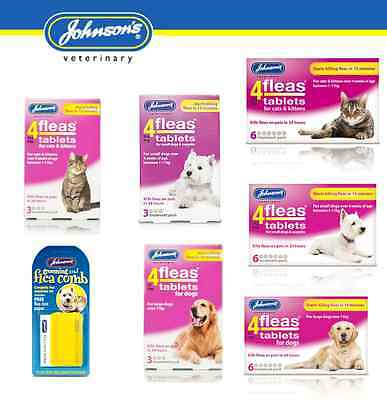 JOHNSONS 4 FLEAS TABLETS FOR CATS&KITTENS, DOGS&PUPPIES, (FREEPOST)or Flea Comb