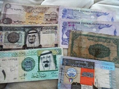 Lot Of  Banknotes From Middle East Gulf Qatar Kuwait Saudi Arabia Egypt