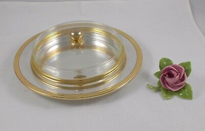 Rare Serving Plate Made of 925 Sterling Silver with Glass Insert, Schwäb.gmünd