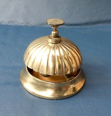 vintage metal shop bell, counter top, silver colour, working, good condition