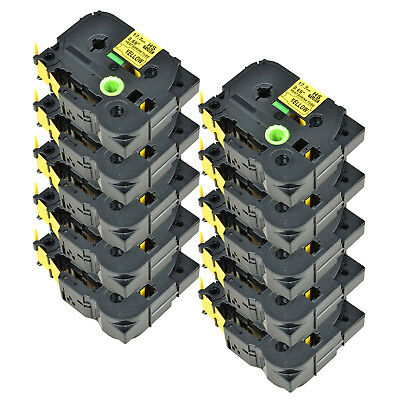 20PK For Brother PT-E300 PT-E550W HSe641 Heat Shrink Tube Black on Yellow 17.7mm