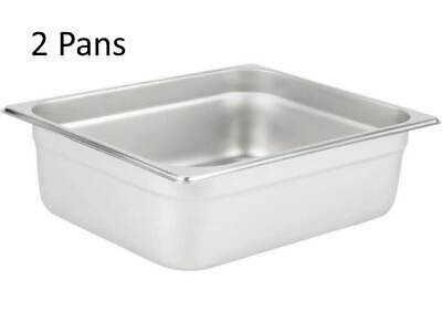 """(2-Pack) 1/2 Size 4"""" Deep Stainless Steel Steam Table / Hotel Buffet Food Pans"""