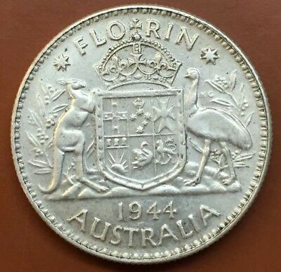 "1944 Australian ""Great Britain George VI"" Silver One Florin Coin World"