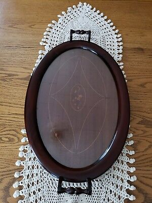 """Antique Glass Top Inlaid Mahogany Wood Oval Serving Tray 22.75""""×14"""""""