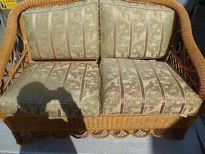 Conservatory Furniture Set,1 Wicker Sofa, 3 Wicker Chairs, 2 Wicker tables