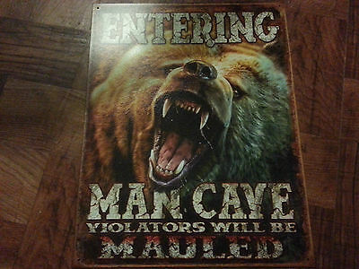 """Vintage Style Tin Sign """"Man Cave Grizzly """"~ Street Rod ~Man Cave~Hot Rod~Custom"""