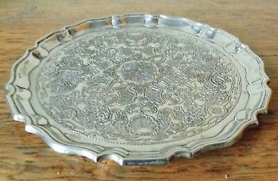 STYLISH VINTAGE SHEFFIELD SILVER PLATED CIRCULAR TRAY Bottle Coaster 3 Dome Feet