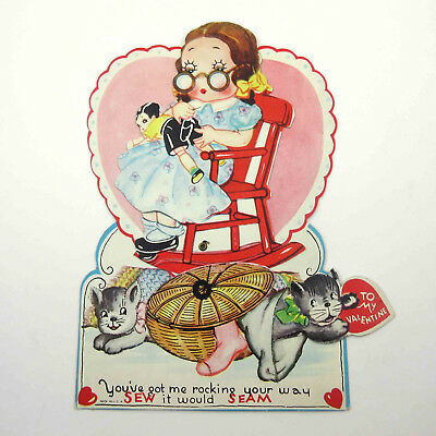 Vintage Antique Mechanical Valentine Card Girl Sewing Doll Cat and Kittens