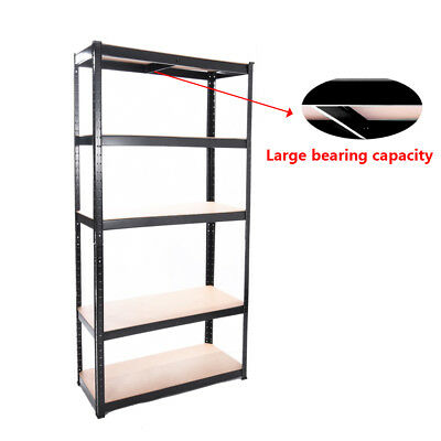 Heavy Duty 5 Tier Shelf Bay Metal Shelving Industrial Boltless Racking Garage UK