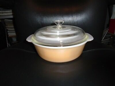Vintage Anchor Hocking Fire King Peach Lustre 1.5 Qt Casserole Dish With Lid