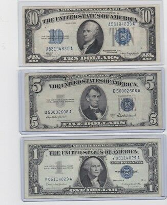 1934 $10, 1953A $5 & 1957B $1 Silver Certificate lot of one each, in new holders