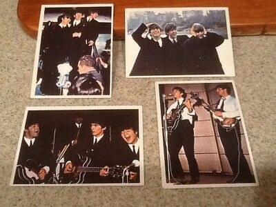 Vintage Topps 1960's Color The Beatles Diary Bubble Gum Cards - 4 NICE PIECES !