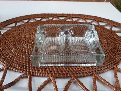 Vintage heavy GLASS INKWELL Pen Holder INK WELL Double Desk