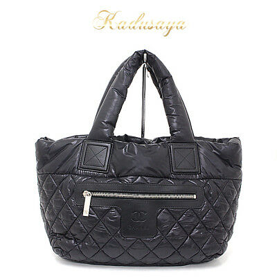 760d4b0744cc AUTH CHANEL COCO Cocoon PM A48610 Black Nylon   Leather Tote Bag ...