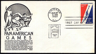 C56 10c Pan American Games Air Mail FDC Anderson black cachet Aug 27,1959 stuck