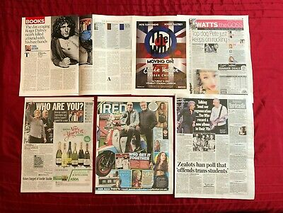 Roger Daltrey Pete Townsend UK Newspaper Magazine Clippings Cuttings The Who