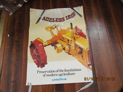 "Vtg. Paper Poster Adv.Good Year /Minneapolis Moline ""Ageless Iron"" Gd. for Age"