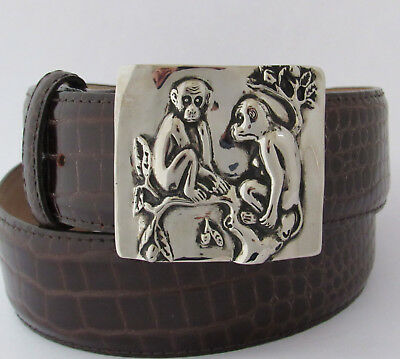 New Monkey Monkeys Buckle On Brown Croco Embossed Leather Strap Inspired By Inro