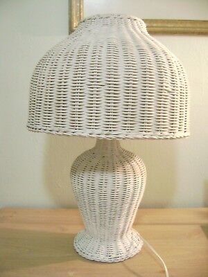 Vintage White Wicker Table Lamp 23""