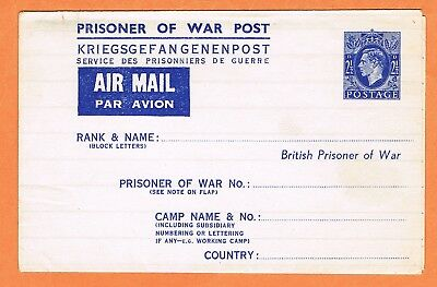GB WWII Prisoner of War Post Air Mail letter, unused