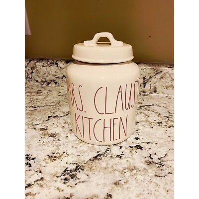 "NEW! HTF!! Rae Dunn ""MRS CLAUS'S KITCHEN"" Christmas 2018 Canister LARGE LETTER!"