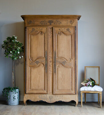 French Antique 19C Oak Knockdown Normandy Wedding Armoire Linen Press Cabinet