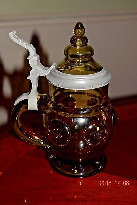 Antique Amber Glass German Beer Stein, Ornate Glass Inlaid Lid, Prunts, Ca. 1900