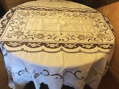 Large Vintage Linen Hand Embroidered Tablecloth/Bedspread