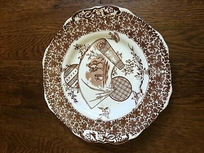 Antique Copeland Aesthetic Movement Brown Transferware Porcelain Plate 10""