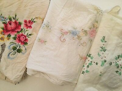Lot Of 3 Vintage Embroidered Tablecloths - E1