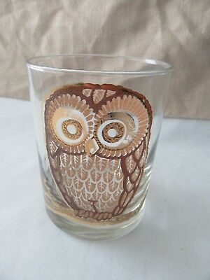 Vintage Mid-Century Modern signed Georges Briard Owl On the Rocks Glass Tumbler