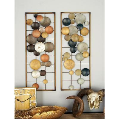 Metal Disc Circle Wall Sculpture Set Abstract Geometric Art Decor Accent Rustic