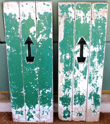 Vintage Pair of Window Wood Shutters with Arrow Cut Outs c. 1950's