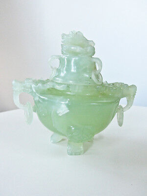 Chinese Carved Xiuyan Jade Tripod Incense Burner Censer with Dragons