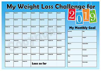 Weight Loss Challenge 2019 Chart - Keep track of your loss - Motivation - Blue