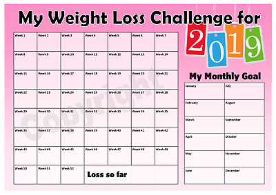 Weight Loss Challenge 2019 Chart - Weight Watchers - Slimming World - Pink
