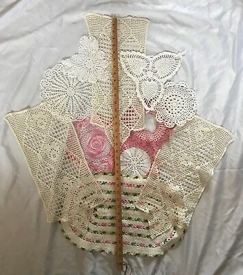 Vintage - Hand Crocheted Doilies Lot Of 11