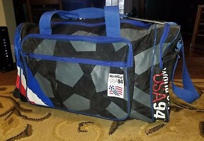 Vintage USA World Cup 1994 Soccer Duffle Bag US Flag 90s Futbol Red White Blue