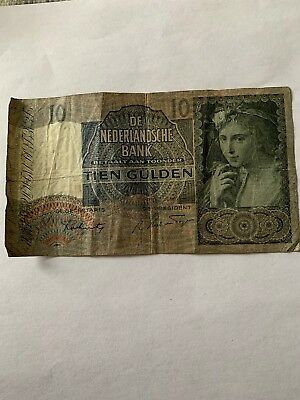 1941 Netherlands Circulated 10 Gulden Banknote Note