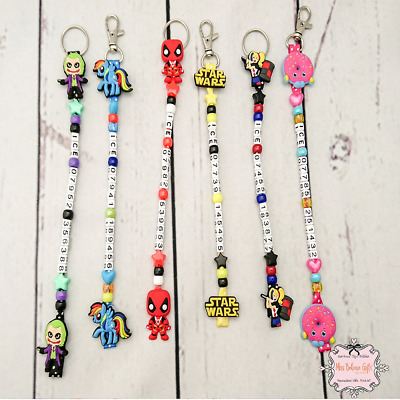 Character Personalised Telephone Number Emergency Contact Keyring or Bag Clip