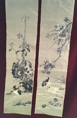 Pair Of Japanese Silk Embroidered Panels