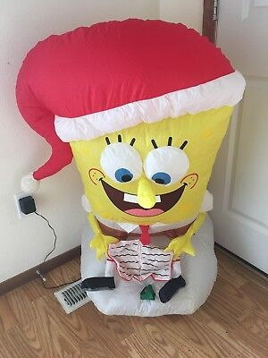Gemmy Christmas Airblown Inflatable Spongebob Caroling Indoor Blow Up 3 feet