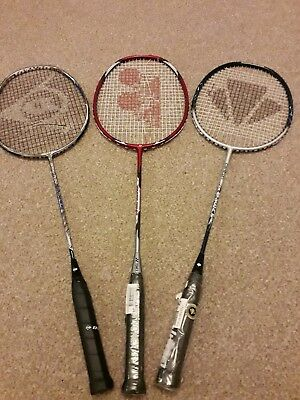 3 x Badminton Racket YONEX DUNLOP CARLTON  NEW  BUT BROKEN  STRINGS