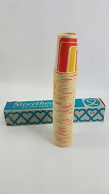"""60+ Vintage Wax Paper Cups Retro Mod New Sweetheart Cold Drink 4"""" Movie Soda Pop"""
