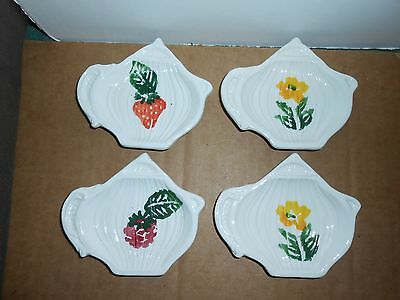 Set 4 Vtg Teapot Shaped Ceramic Spoon Rest Tea Bag Holders Hand Painted Italy