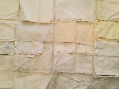 Lot Of 40 Vintage Napkins  - Damask And White On White