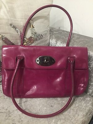 Genuine Mulberry East West Bayswater Shoulder Bag Patent Raspberry Pink 35a55745df