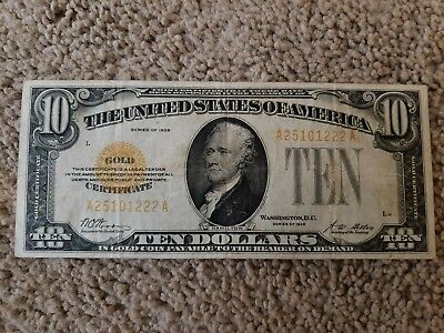 1928 $10 Gold Certificate -- Good Condition
