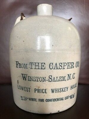 Rare Antique The Casper Co Gallon Whiskey Jug Empty Winston Salem, N.c
